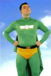 The Flying Eagle Superhero from the BBC's Dick and Dom, available for parties