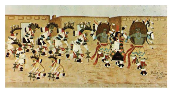 The Herd Dance by Pablita Velarde at http://www.indianpueblo.org/museum/images/murals/pablita_valerde.html