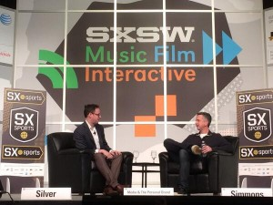 ESPN's Nate Silver (left) and Bill Simmons at SXSW, Saturday, March 8, 2014.