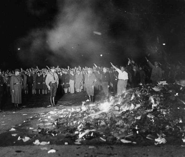 Book burning in Opera Square, Berlin, May 10, 1933–US Holocaust Memorial Museum/National Archives and Records Administration, College Park, MD