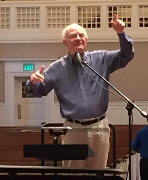 John Rutter, in rehearsal with the choir of Preston Hollow Presbyterian Church on April 15. (Tim Jerome)