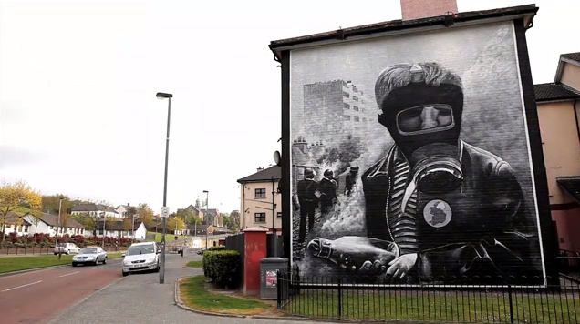 "A mural in Belfast in ""Beyond the Walls."""