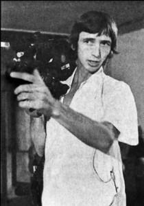 "Filmmaker Ken Harrison filming an art opening in 1975 for ""Jackelope."" Photo by Gary Bishop."