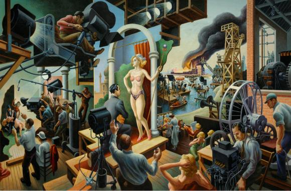 """""""Hollywood, 1937–38,"""" by Thomas Hart Benton, Tempera with oil on canvas, mounted on panel ©T.H. Benton and R.P. Benton Testamentary Trusts/UMB Bank Trustee/Licensed by VAGA"""