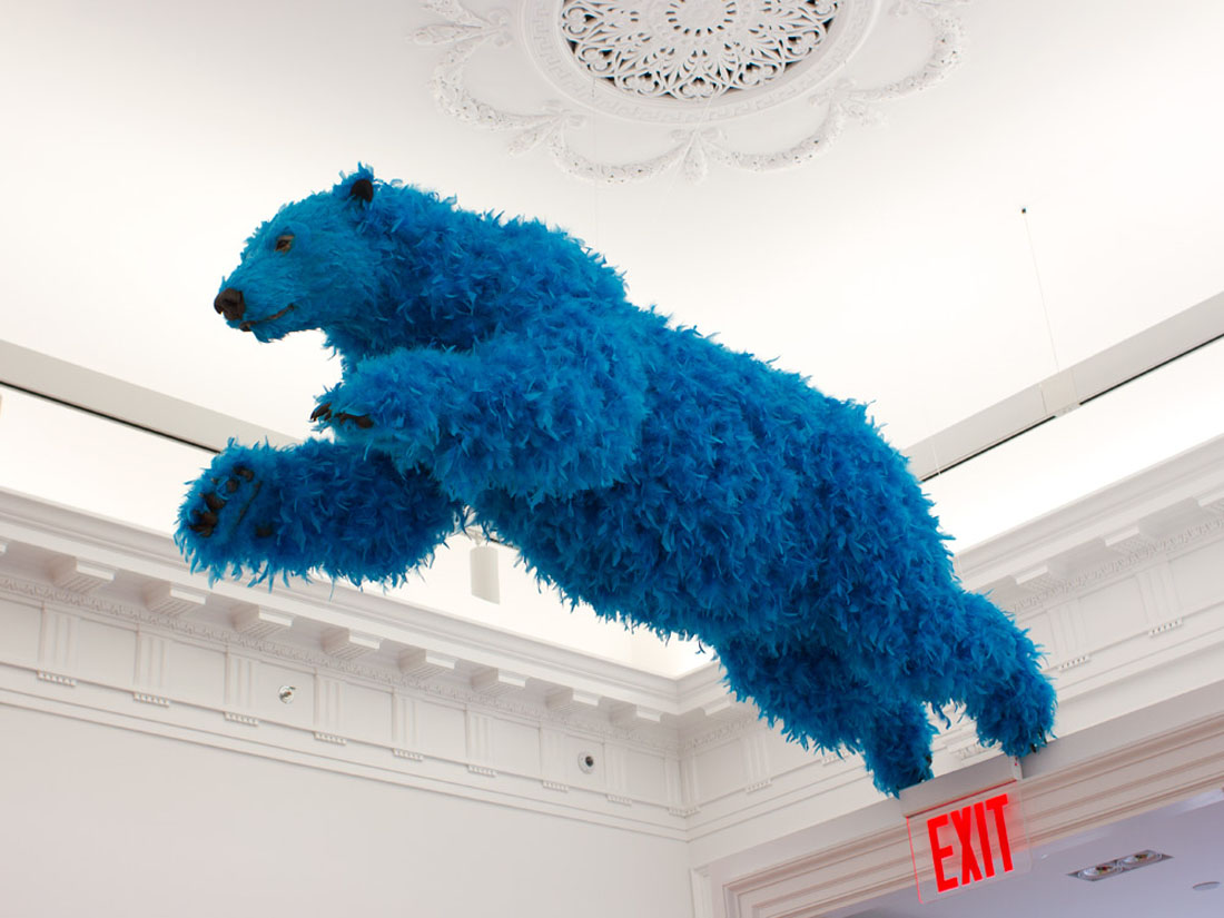 Paola Pivi's Feathered Bear at Galerie Perrotin