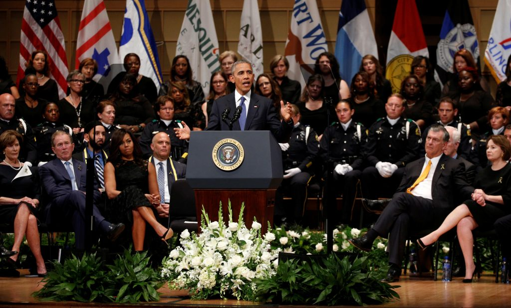 U.S. President Barack Obama speaks during a memorial service for five policemen killed last week in a sniper attack in Dallas, Texas July 12, 2016. Photo: REUTERS/Kevin Lamarque