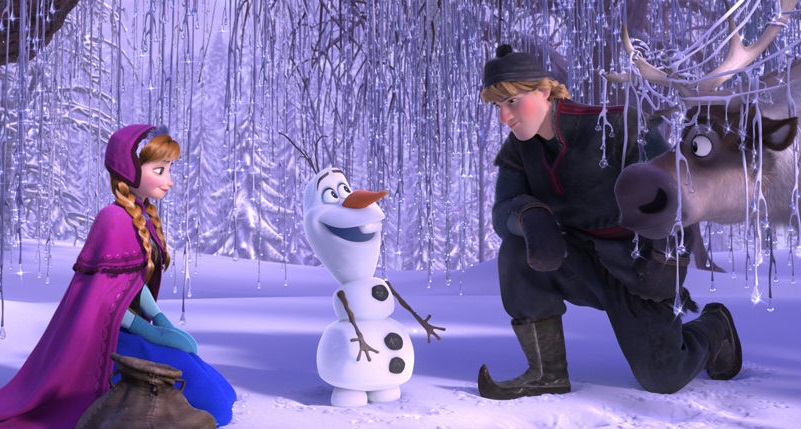 Cuddle up and watch an outdoor movie with your favorite snowbabies. photo: Disney.com
