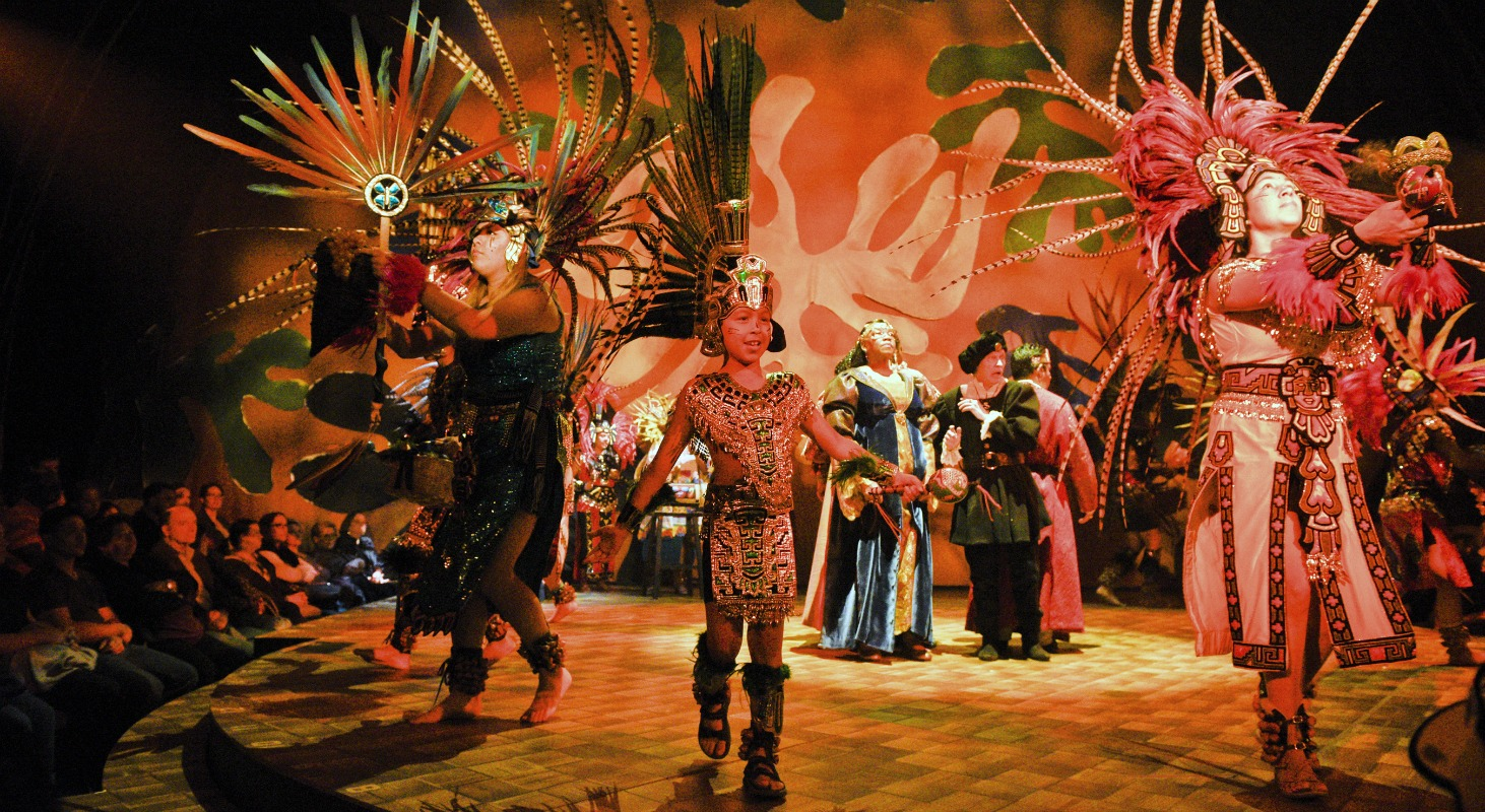 aztec dancers in dallas theater center's the tempest