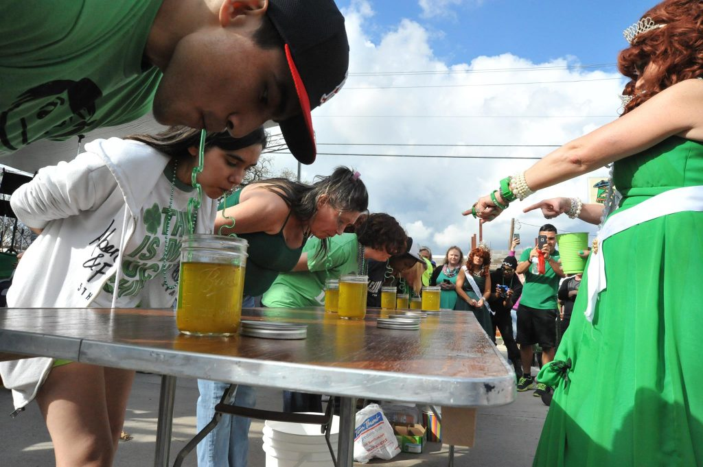 Cheer on the contestants at this year's Pickle Juice-Drinking contest. Photo: World's Only St. Paddy's Pickle Parade