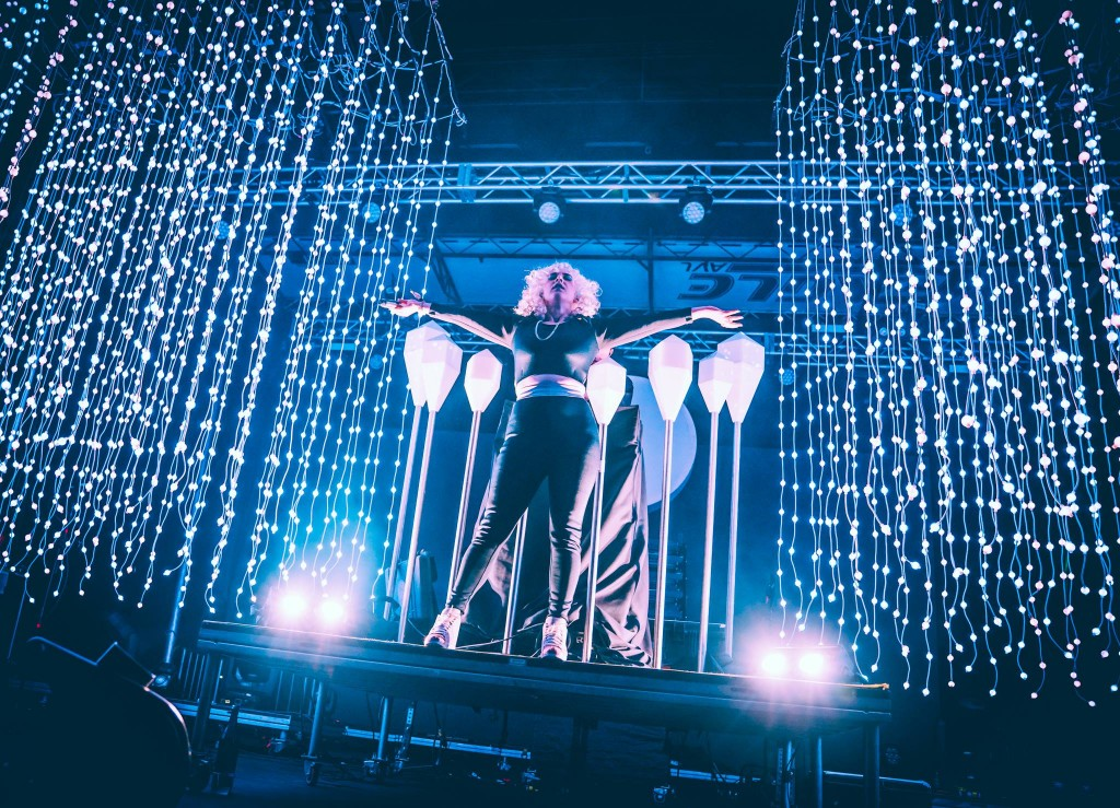 Purity Ring, which has a woman lead, was Sunday night's headliner. Photo: Fortress Festival