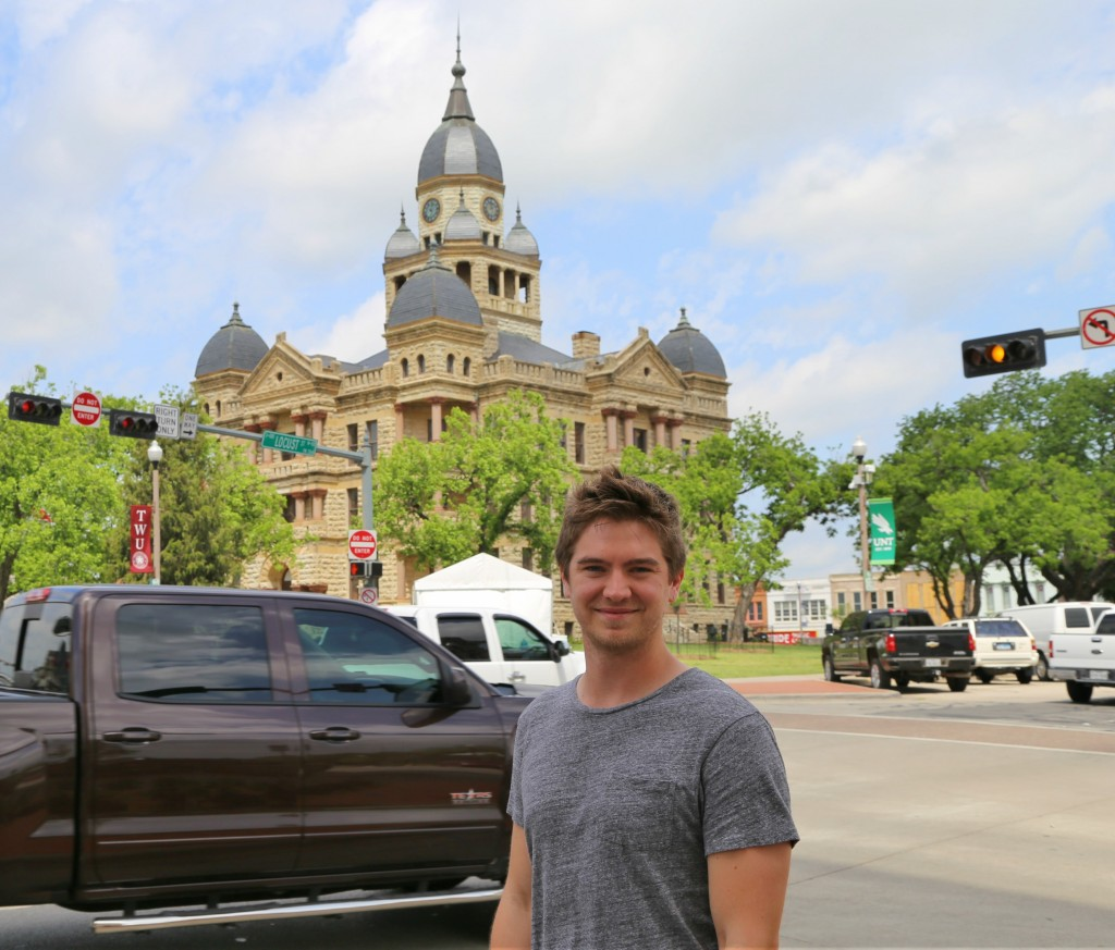 Matt Morton standing in Denton's Town Square. A place he strolls past on his way to UNT's campus. Photo: Hady Mawajdeh